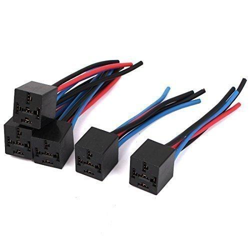 sourcingmap® 5 Stüke 5-polig Kabel Relais Sockel Kabelsatz Verbindung DC 12V Für Auto Auto