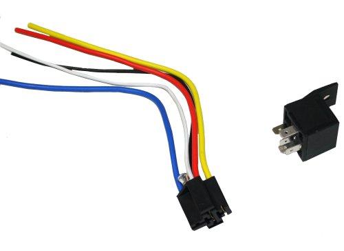Aerzetix Relais 12V 5Kiefer Pin 30/40A mit Kabelbaum-Stecker
