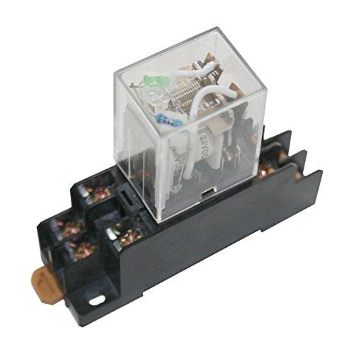 Hutschienenrelais Hutschienensockel Relais mit grüner LED 2 Wechsler 24V (0005)