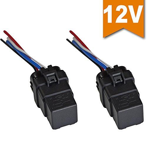 Ehdis® [2 Stück] Relais & Buchse 40 AMP 12V 40A SPST ReIaissockel