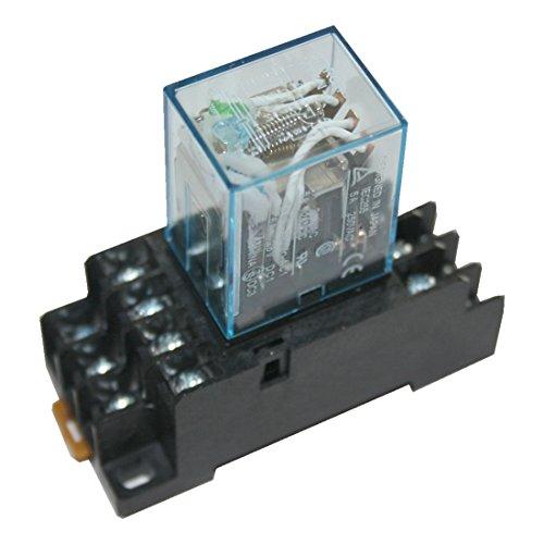 Hutschienenrelais Hutschienensockel Relais mit roter LED 4 Wechsler 110V (0003)