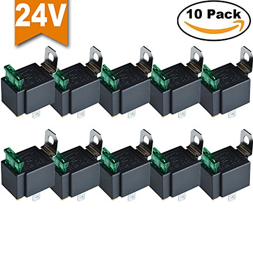 Ehdis® Fused Relais Ein / Aus-24V 30A Automotive 4-Pin Sockel SPST, 10er-Pack