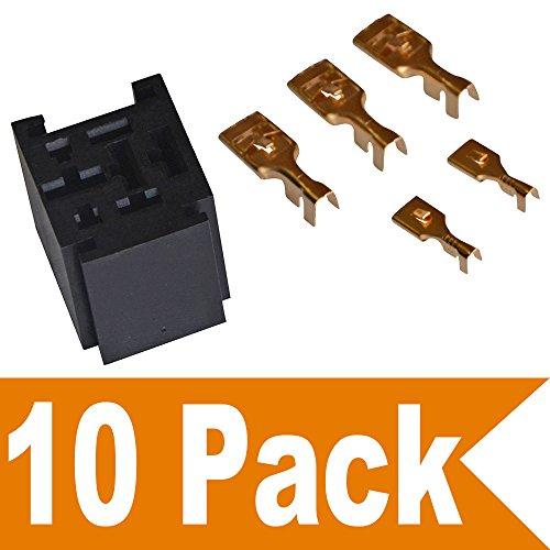 Ehdis® 80 Ampere-Relais Stecker 5 Pin Relaissockel mit 5 Anschlüsse: 2 x 6,3 mm + 3 x 9,5 mm, 10 Stück