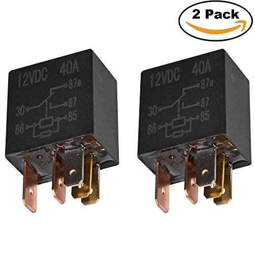Ehdis® 5 Pin 12VDC 40A SPDT Multi-Purpose Relay Heavy Duty Standard-Relay-Set, Inhalt: 2 Stück