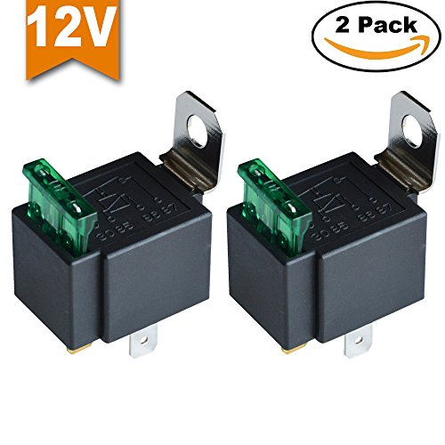 Ehdis® Fused Relais Ein / Aus -12V 30A Automotive 4-Pin Sockel SPST, 2er-Pack