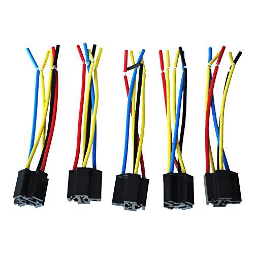 TOOGOO (R) 5 Stueck 5 Pin Leitungen Kabel Relais Sockel Baumstecker DC 12V fuer Auto