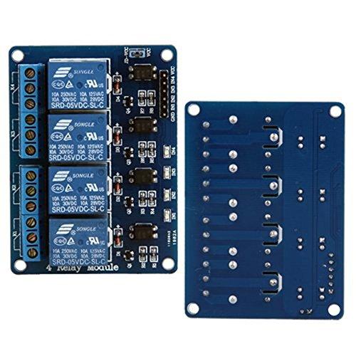 Pixnor 4-Kanal-DC 5V Safety Shield Modul-Relaiskarte mit Optokoppler für Arduino DSP AVR PIC ARM TTL Logik
