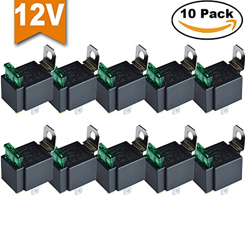 Ehdis® Fused Relais Ein / Aus -12V 30A Automotive 4-Pin Sockel SPST, 10er-Pack
