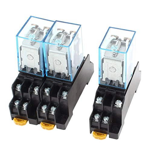 3 PC-DC 12V 5A Spule 35mm DIN-Schiene DPDT 8Pin Power Relay + Socket-Basis