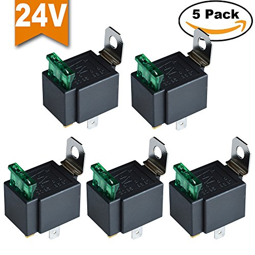 Ehdis® Fused Relais Ein / Aus-24V 30A Automotive 4-Pin Sockel SPST, 5er Pack