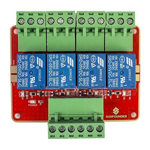 SunFounder 4-CH DC 5V 4 Kanäle Relais Modul Erweiterungsbrett mit Optokoppler High-Pegel-Trigger für Arduino und Raspberry Pi DSP AVR PIC ARM