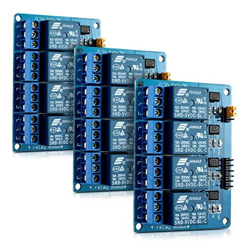 3x kwmobile 4 Kanal Relais Modul mit 5V für Arduino